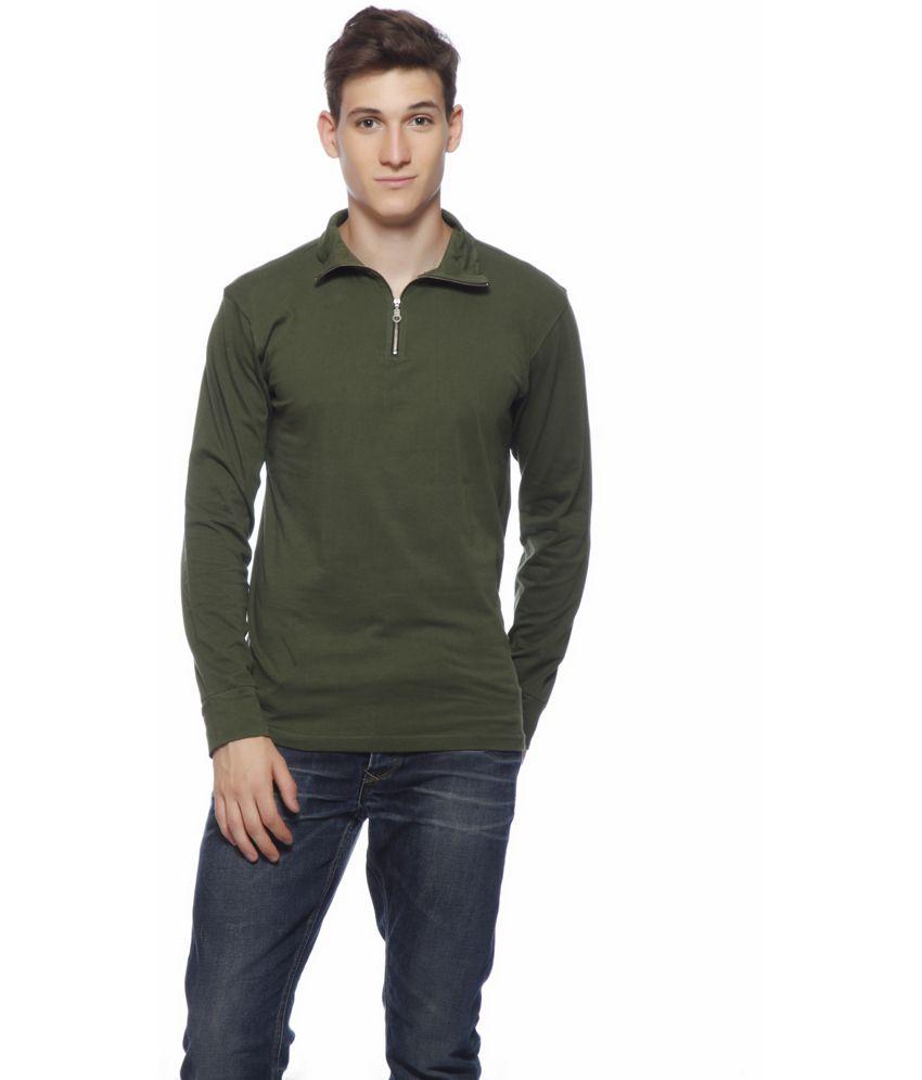 Gritstones Green Cotton Full T-shirt