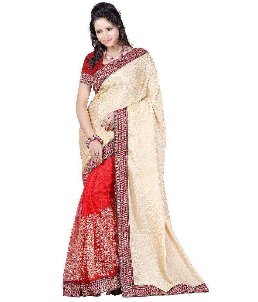 Harsh Fashions Red Silk Saree