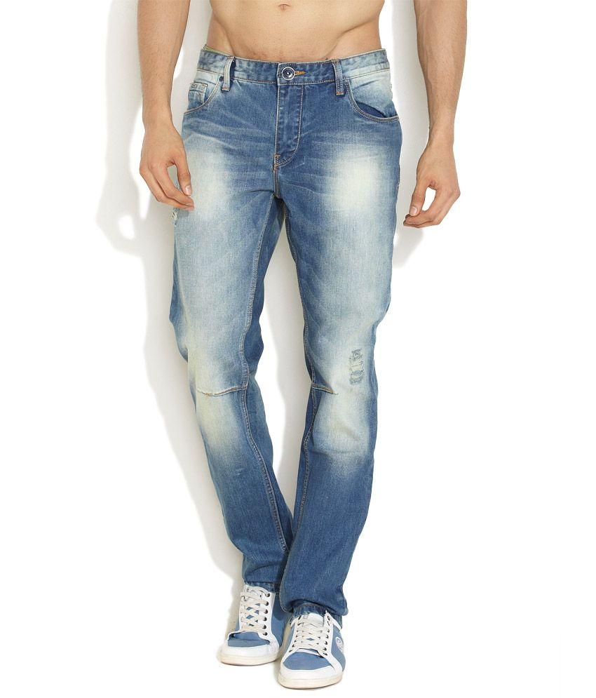 Indigo Nation Medium Blue Rebel Days Distressed Slim Jeans