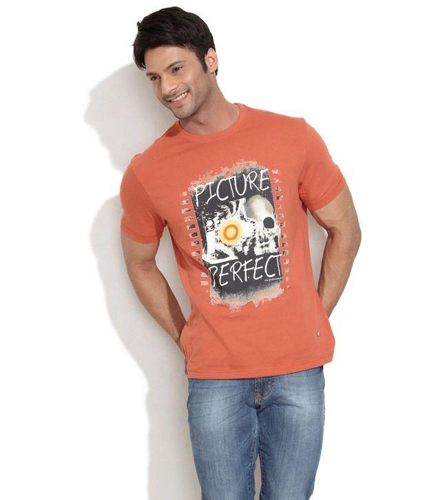 Numero Uno Brown Half Cotton Blend Round T-Shirt