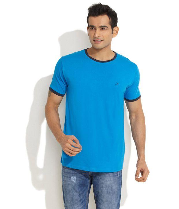 John Miller Medium Blue Contrast Trims Solid T-Shirt