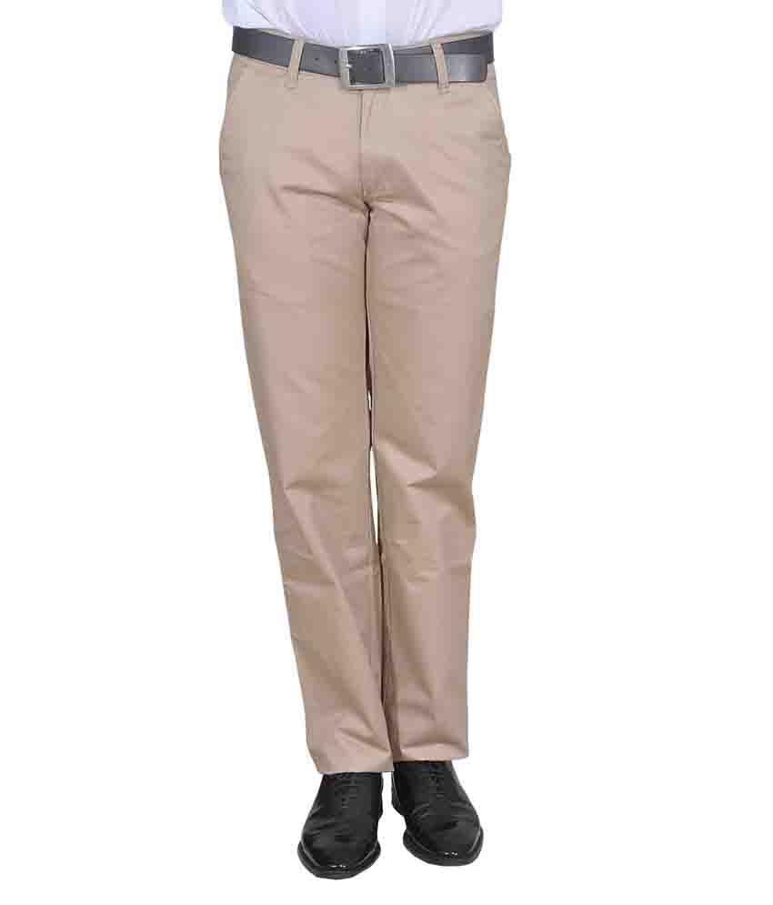 Twiss Sports Beige Regular Fit Men's Premium Cotton Trouser