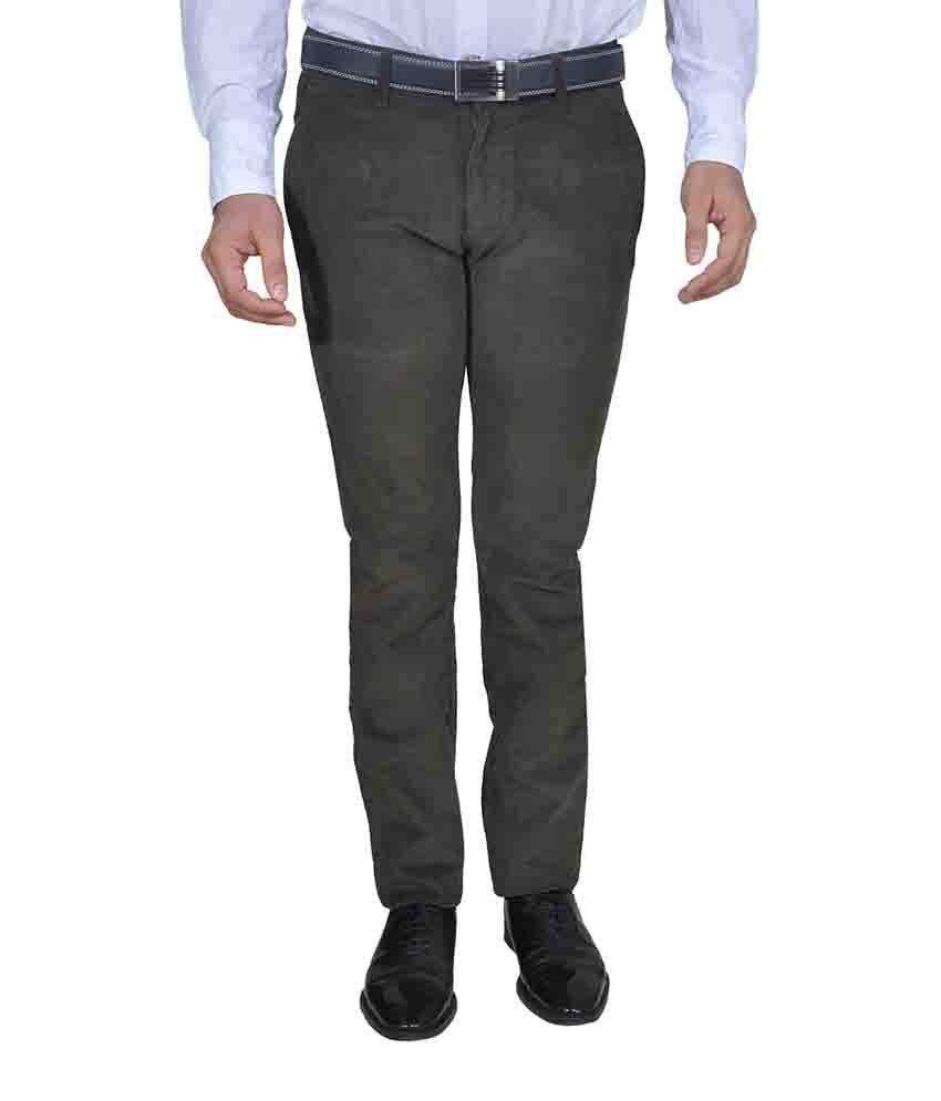 Twiss Sports Green Slim Fit Men's Coduroy Casual Trouser