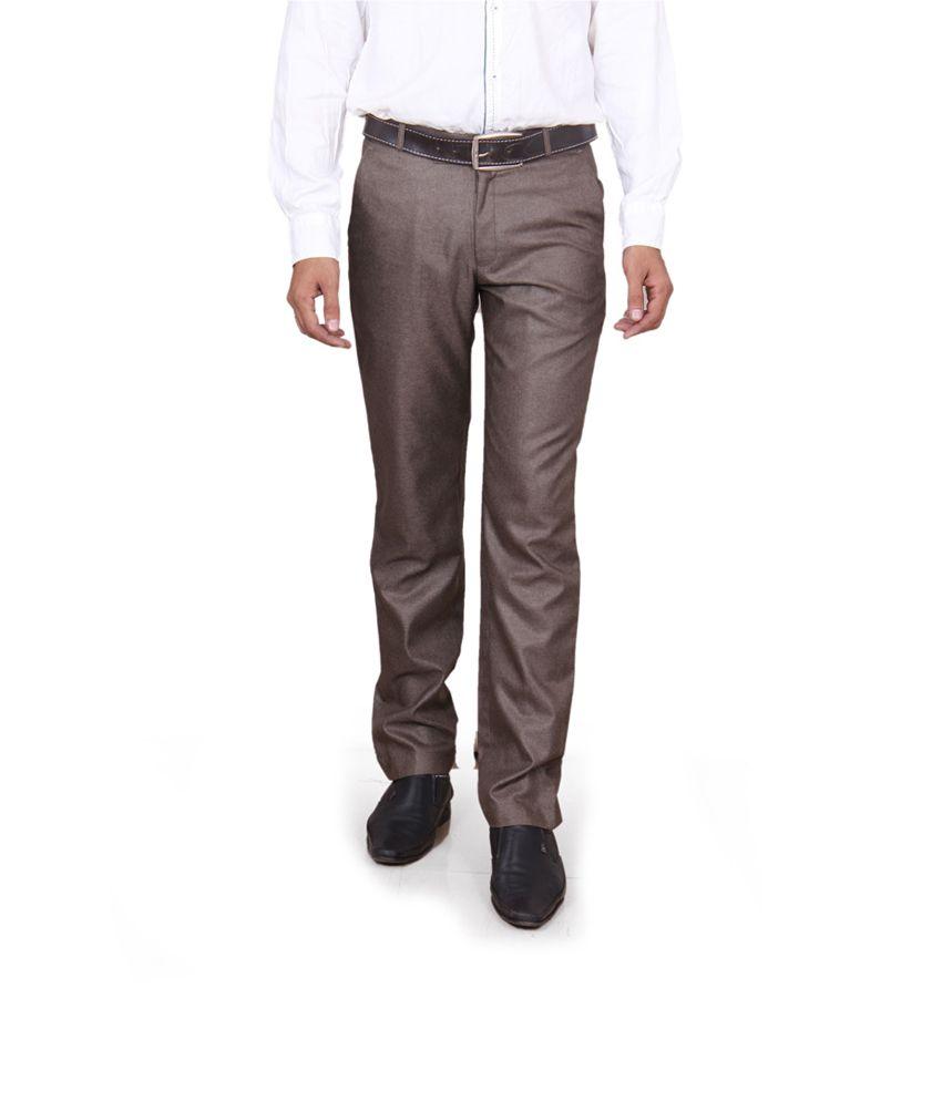 Yb Brown Poly Viscose Slim Fit Formal Trouser