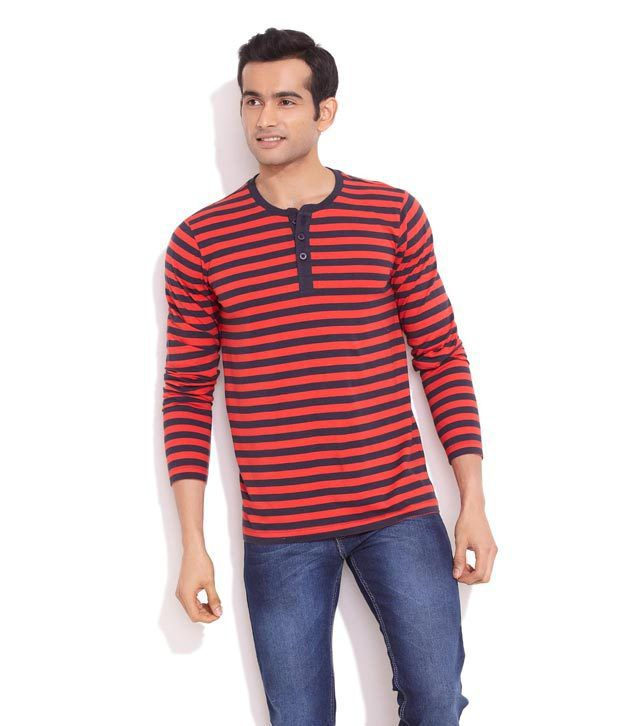 Freecultr Red Striped Henley Shirt