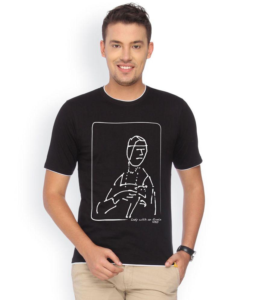 Campus Sutra Black Cotton T-shirt