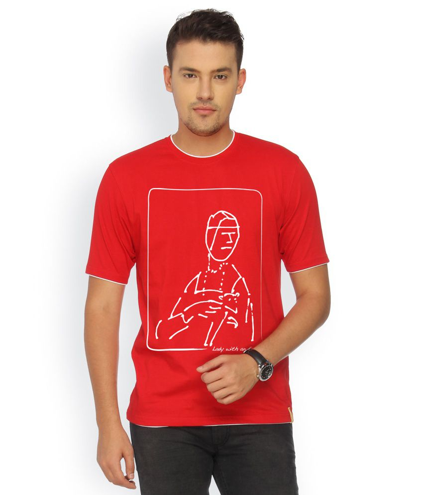 Campus Sutra Red Cotton T-shirt
