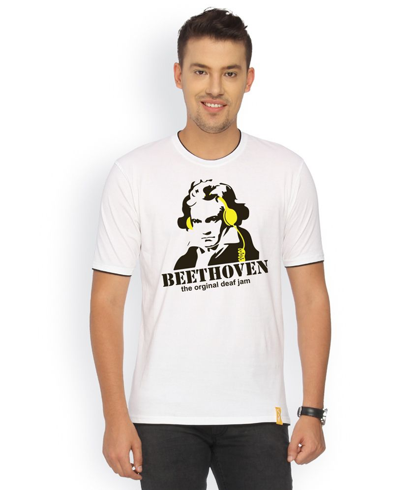 Campus Sutra White Cotton T-shirt