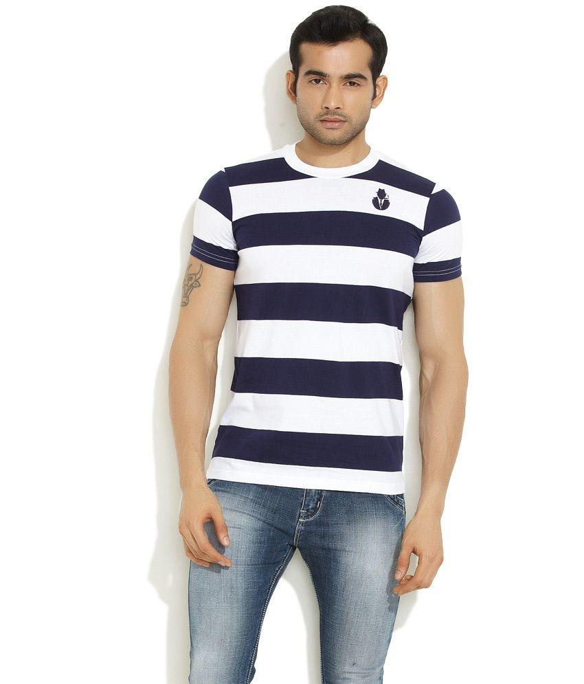 Smugglerz White Classic Striped Round-Neck T-Shirt