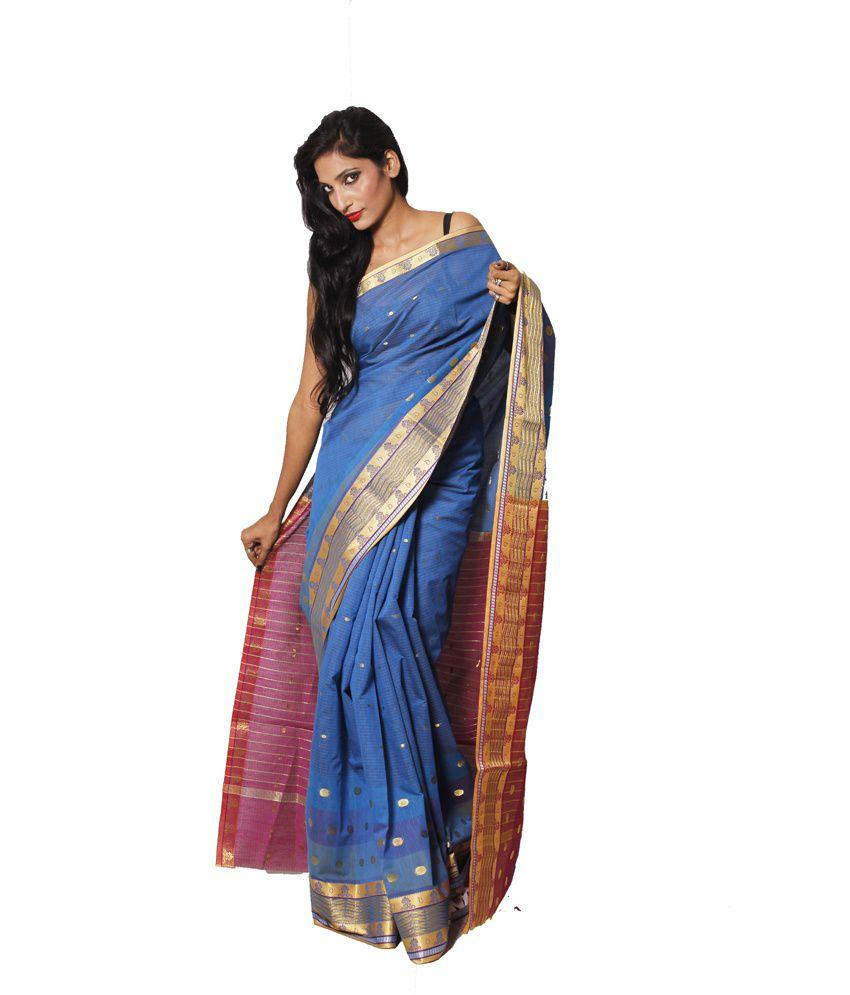 Banarasi Blue Silk Saree With Blouse Piece