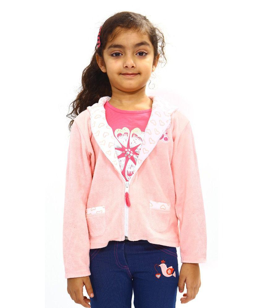 Bio Kid Pink Cotton Full Sleeve Fleece Jackets