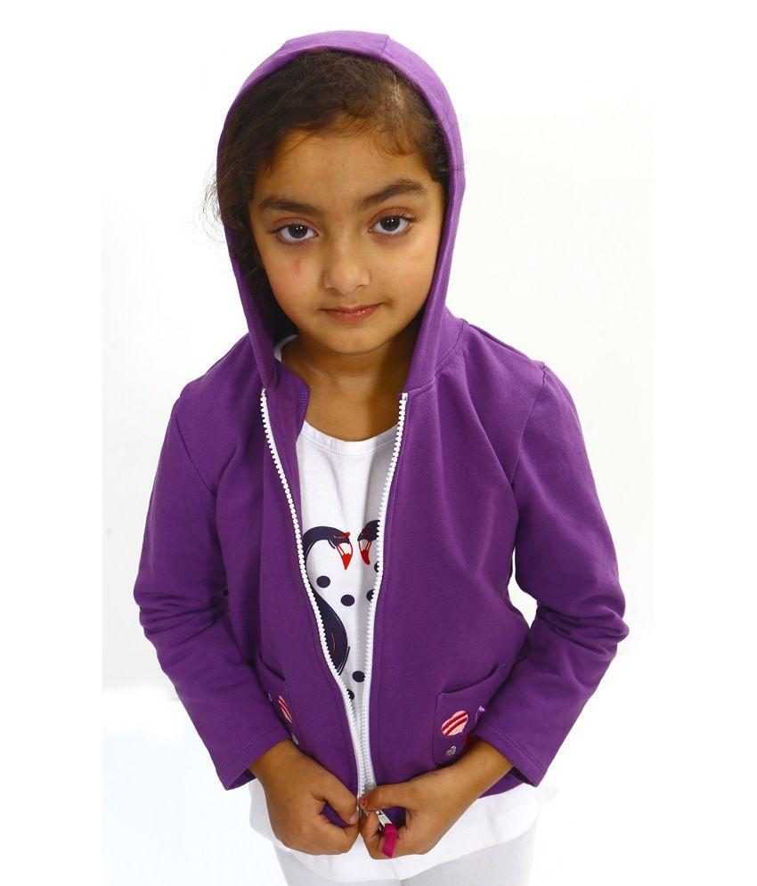 Bio Kid Purple Cotton Full Sleeve Fleece Jackets