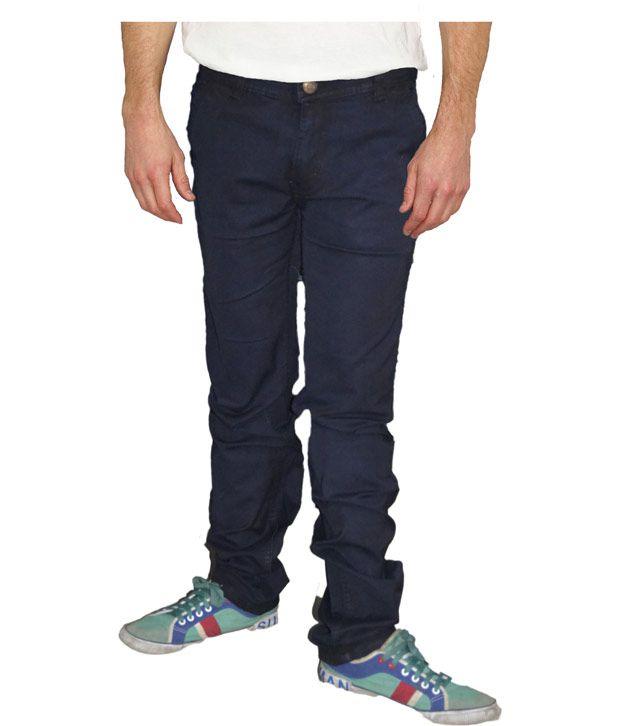 Focus Blue Cotton Blend Straight Fit Basics Jeans