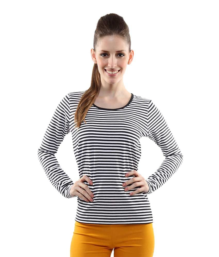 ace7ce119d Miss Chase Black Cotton Striped Tops For Women Full Sleeve Round Neck  Casual Wear - Buy Miss Chase Black Cotton Striped Tops For Women Full Sleeve  Round ...