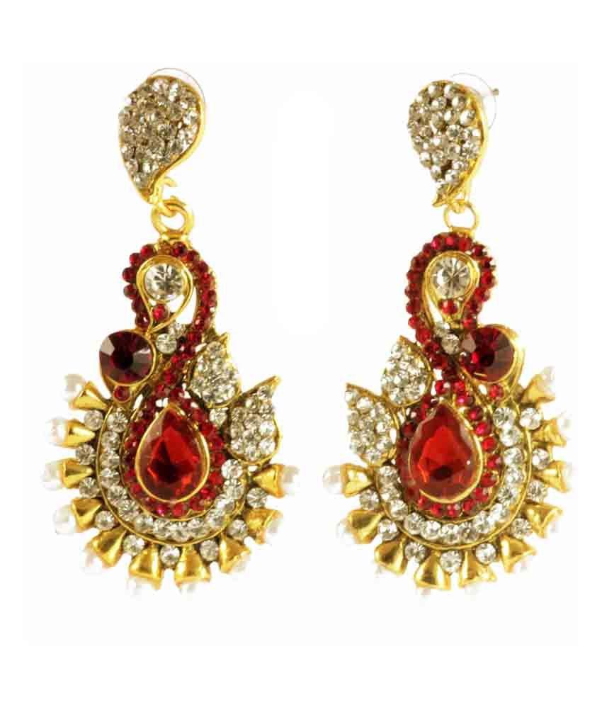 Muunaayan'S Traditional Maroon Gold Plated Pearl Polki Earrings
