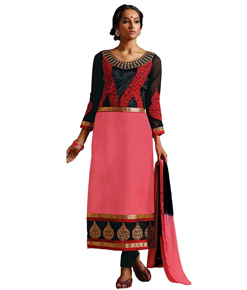 Riti Riwaz Pink Cotton Unstitched Dress Material