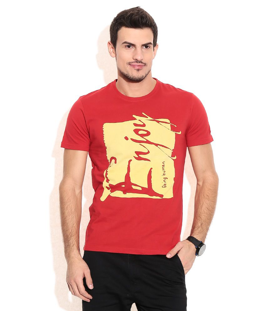 Being Human Red Cotton T-Shirt