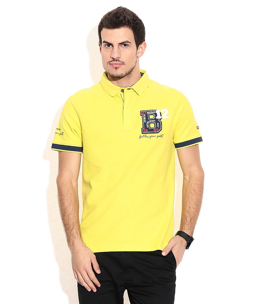 Being Human Yellow Cotton Polo T-shirt