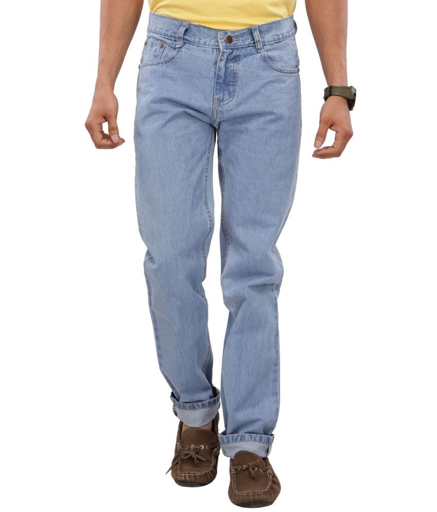 Karya Light Blue Regular Fit Cotton Jeans For Men
