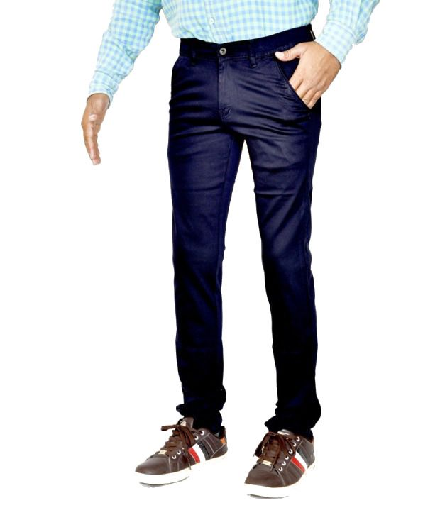 Smartshop123 Casual Blue Satin Lycra Cotton Slim Fit Chinos