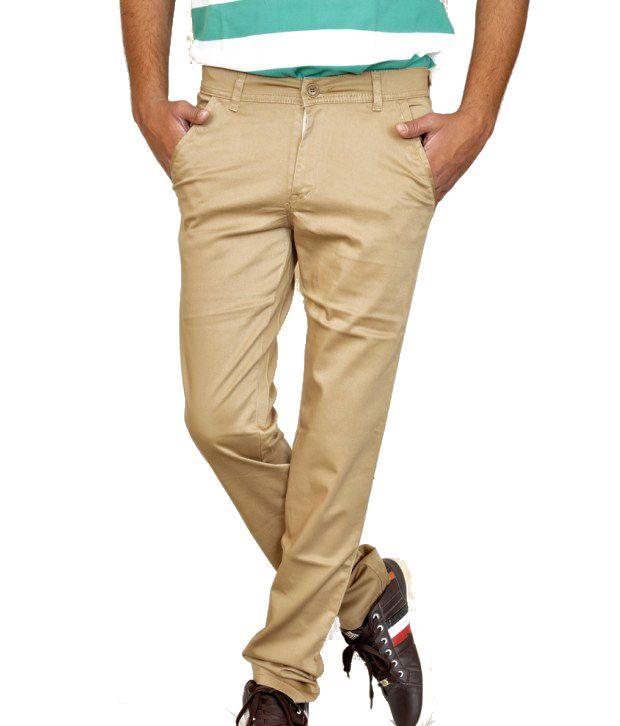Smartshop123 Casual Khakhi Satin Lycra Cotton Slim Fit Chinos