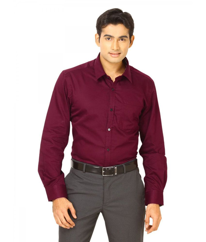 Unique for men maroon cotton blend slim fit casual shirt for Where to buy casual dress shirts