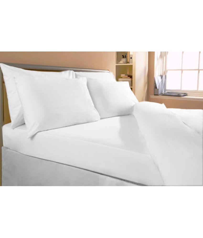 Bombaydyeing White Plain Cotton Single Bedsheet - Buy ...