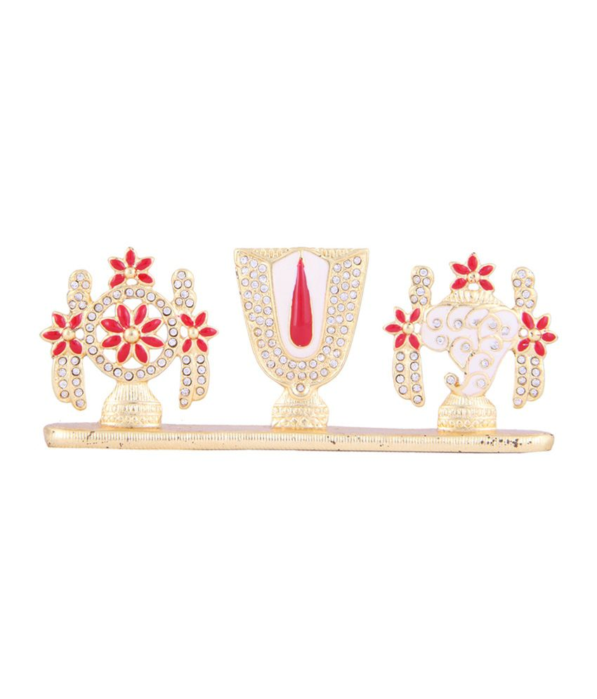 Itzmyfashion Red Studded Stone Lord Venkatesh Idol