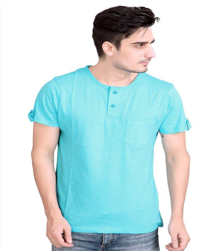 Stephen Armor Aqua Blue Solid Men's Henley T-shirt