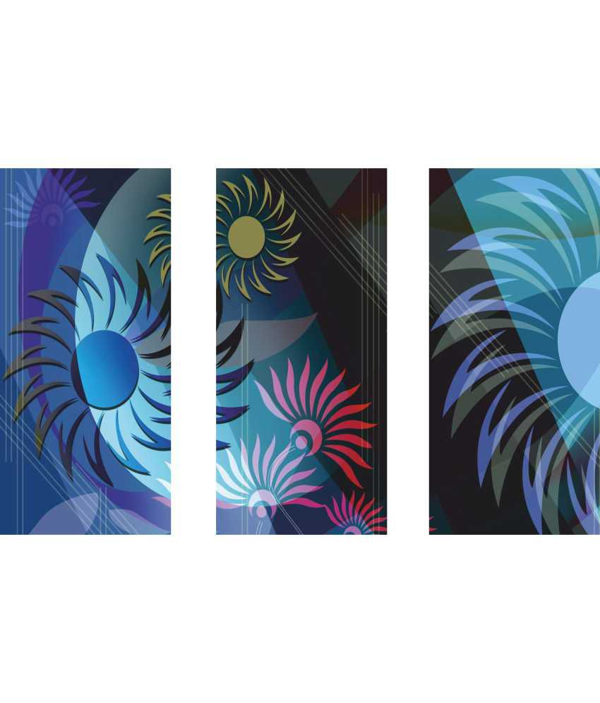 Anwesha's Blue Floral 3 Frame Split Effect Digitally Printed Canvas Wall Painting