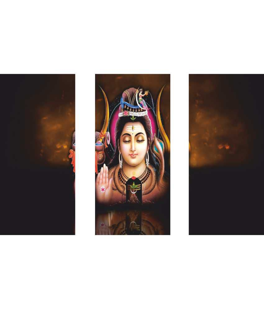 Anwesha's Lord Shiv 3 Frame Split Effect Digitally Printed Canvas Wall Painting