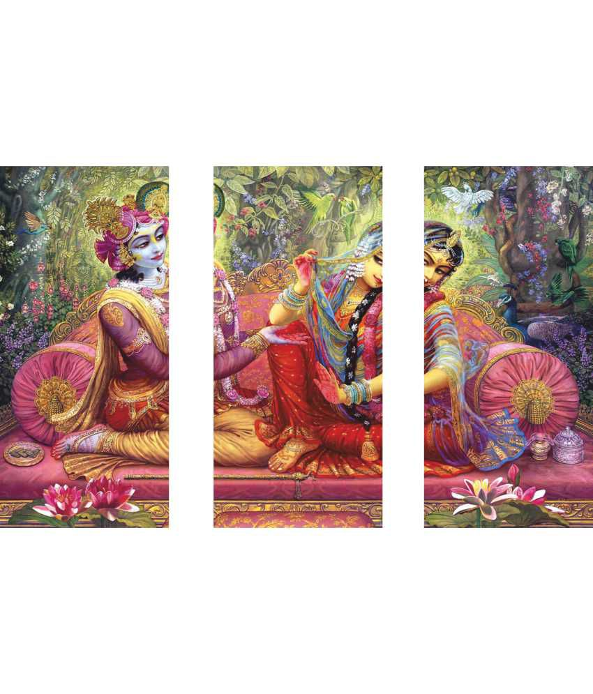 Anwesha's Radha Krishna Wall Painting 3 Frame Split Effect Digitally Printed Canvas Wall Painting