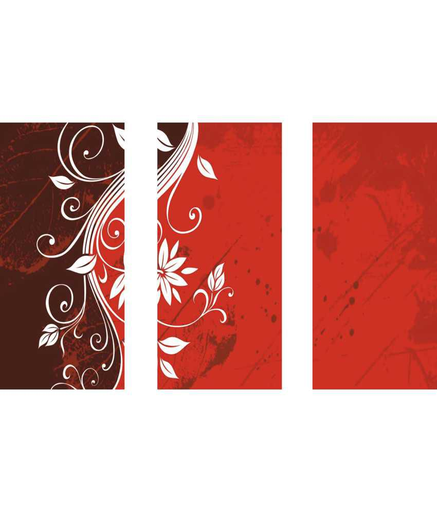 Anwesha's Red White Abstract 3 Frame Split Effect Digitally Printed Canvas Wall Painting