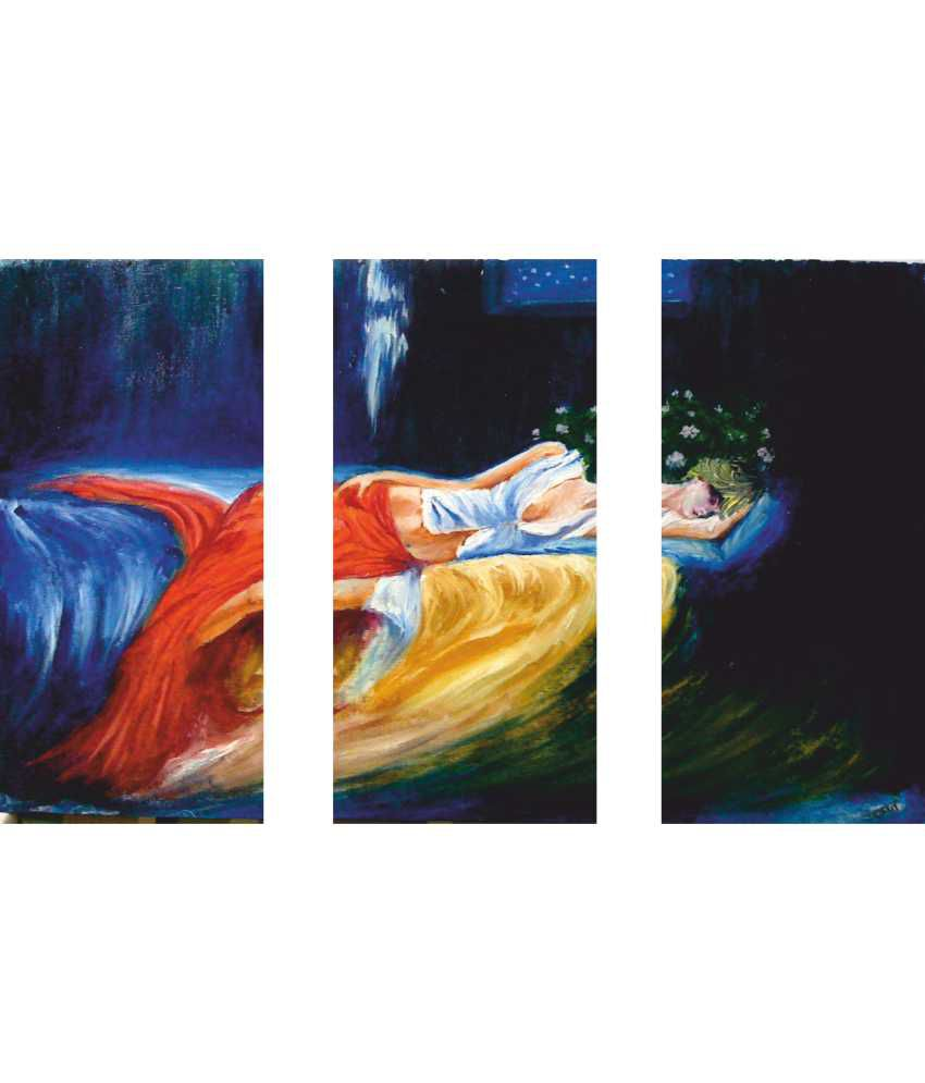 Anwesha's Sleeping Girl 3 Frame Split Effect Digitally Printed Canvas Wall Painting