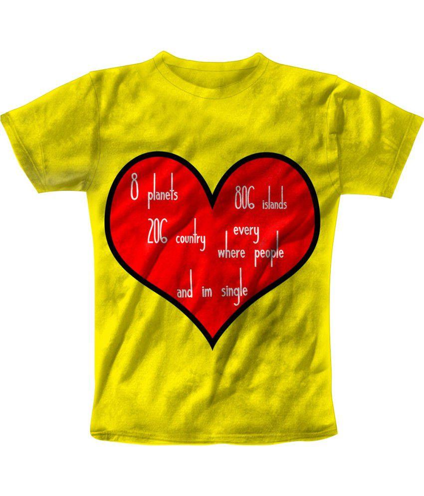 Freecultr Express Yellow Cotton Blend T-shirt