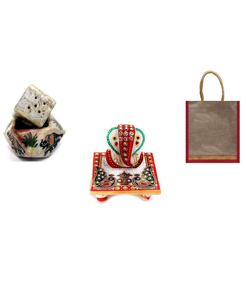 Online Ocean 11 Ganesha Idol With Multipurpose Stand And Stylish Jute Bag