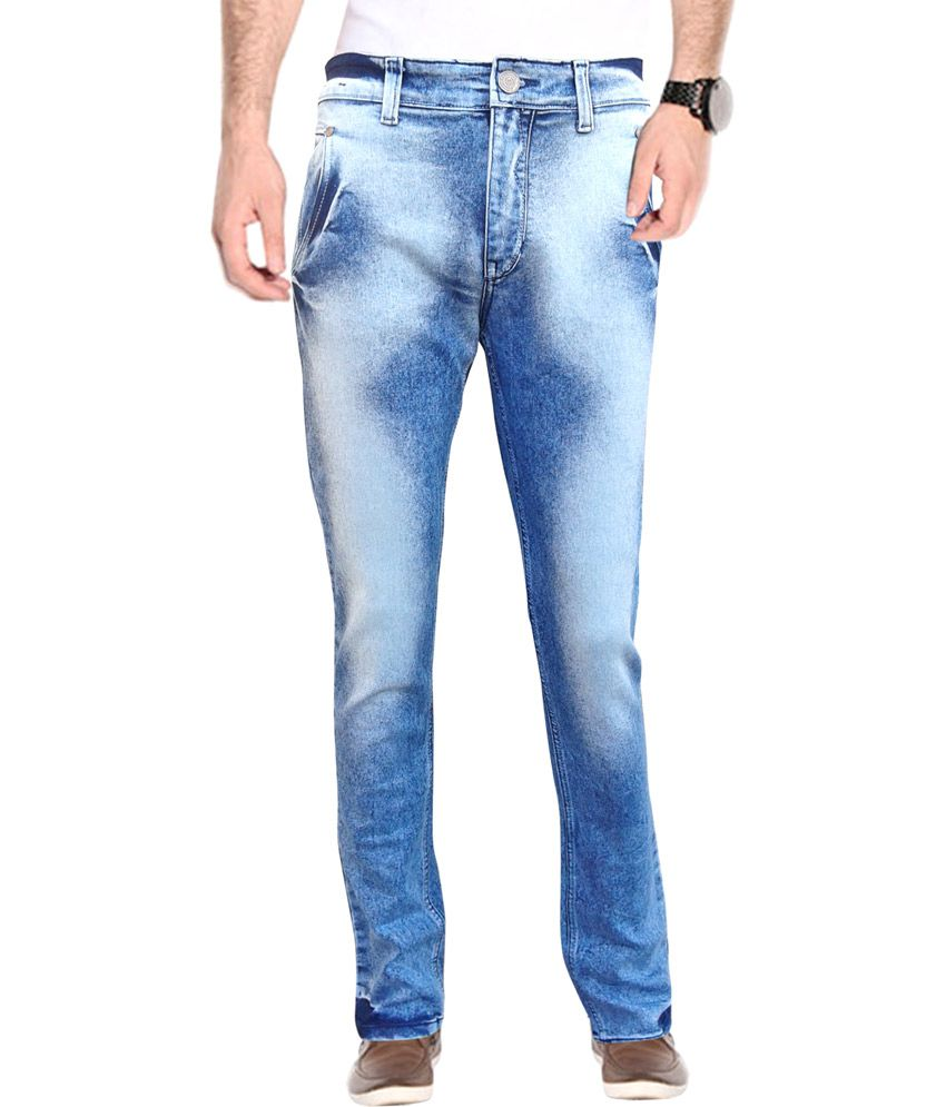 White Pelican Blue Cotton Faded Jeans For Men