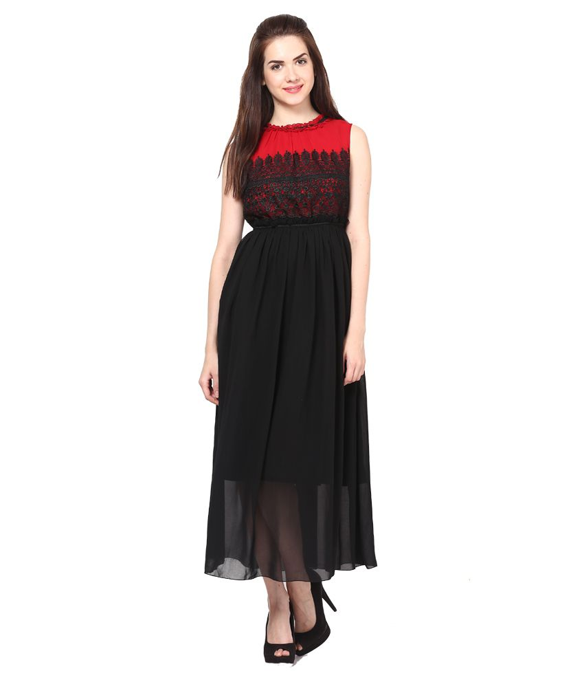 d452796e850 Eavan Black Black And Red Maxi Dress - Buy Eavan Black Black And Red Maxi  Dress Online at Best Prices in India on Snapdeal