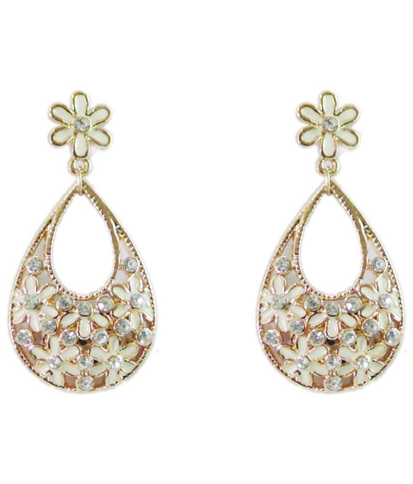 Golden Peacock Cz Drop Earrings