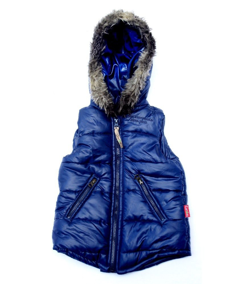 Gron Stockholm Sleeveless Navy Color Hooded Jacket For Kids