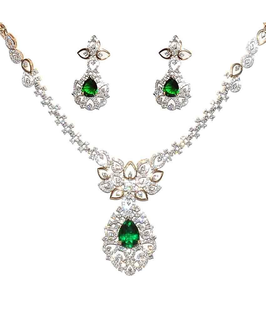 Jain Jewellery House Contemporary 18kt Gold Diamond Necklace Set
