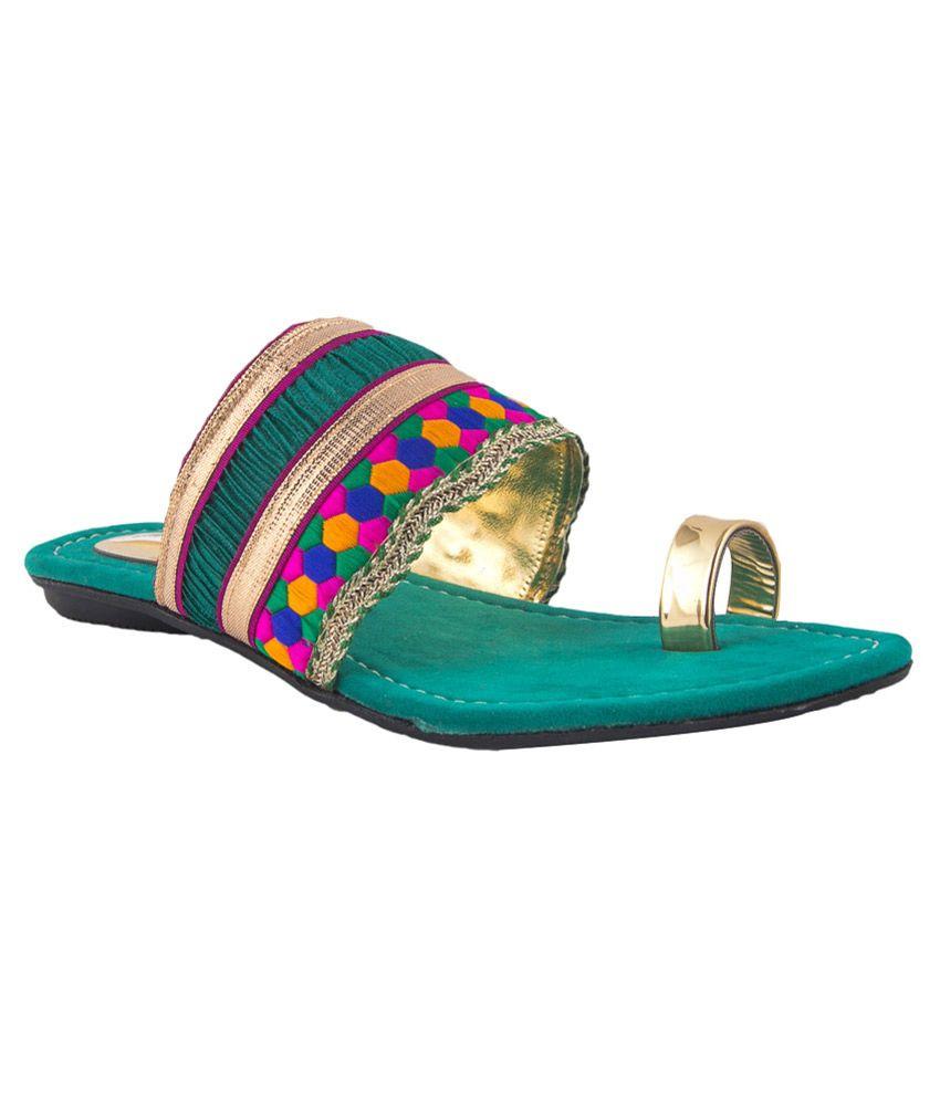 Pink Fever Green Pu Women's Floater Sandal