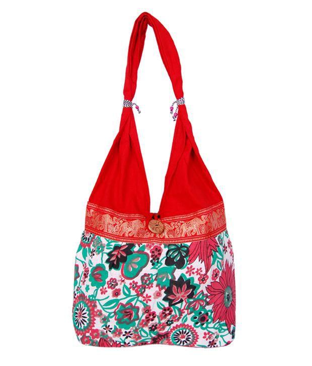 Womaniya Red Handcrafted Jhola