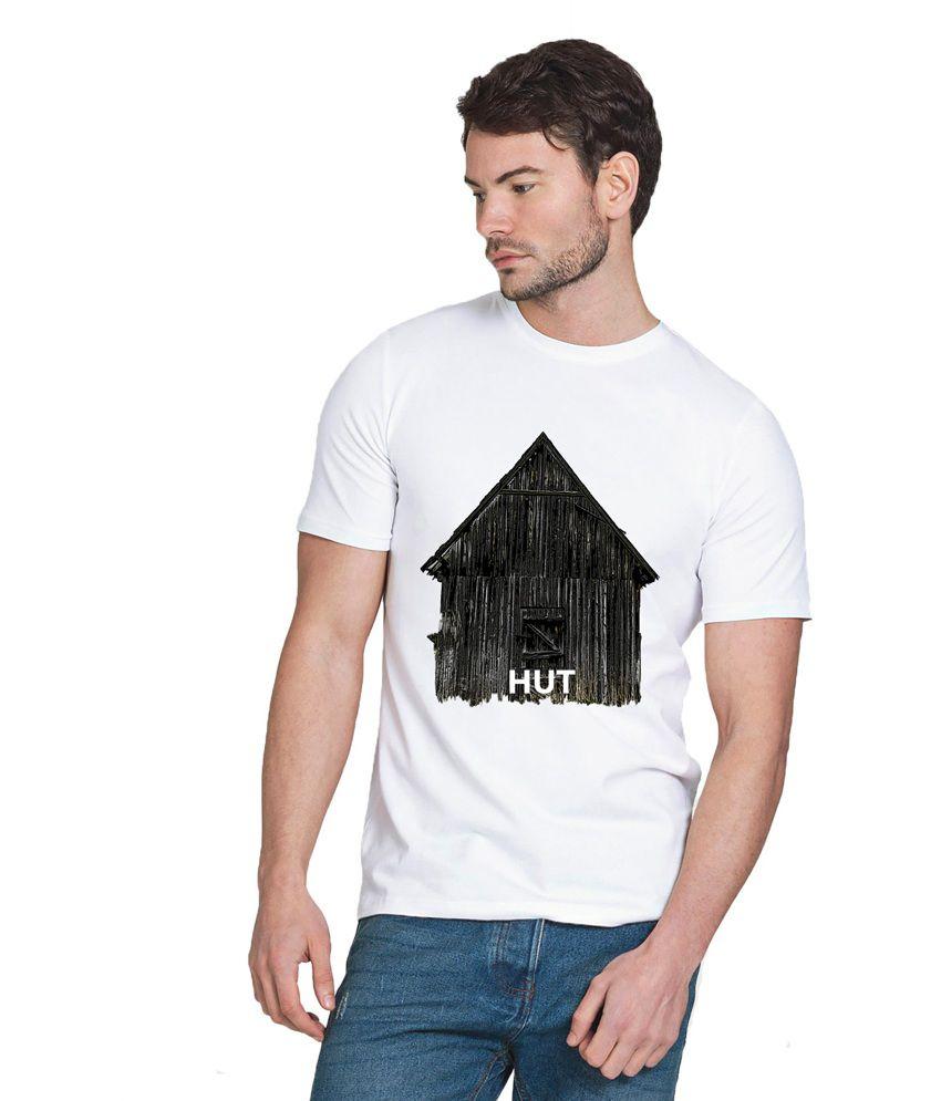 Chillum White Cotton Printed Half Sleeve T-shirt