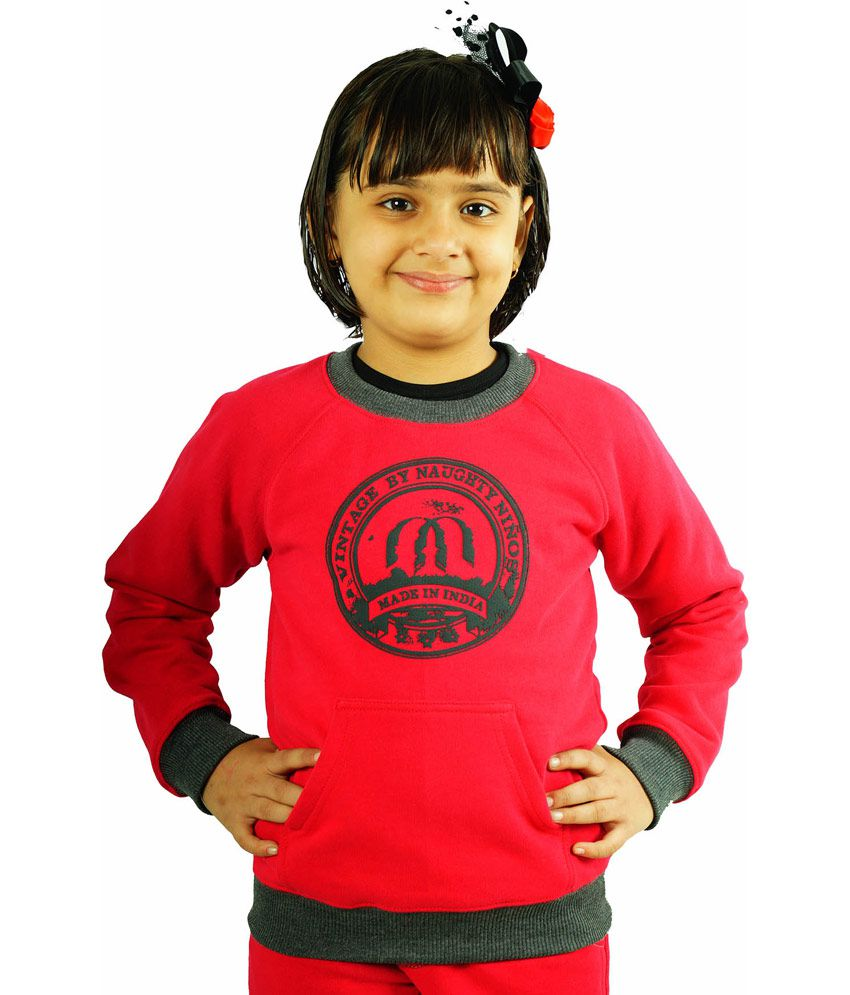 Naughty Ninos Red Cotton Sweatshirt With Pink Print