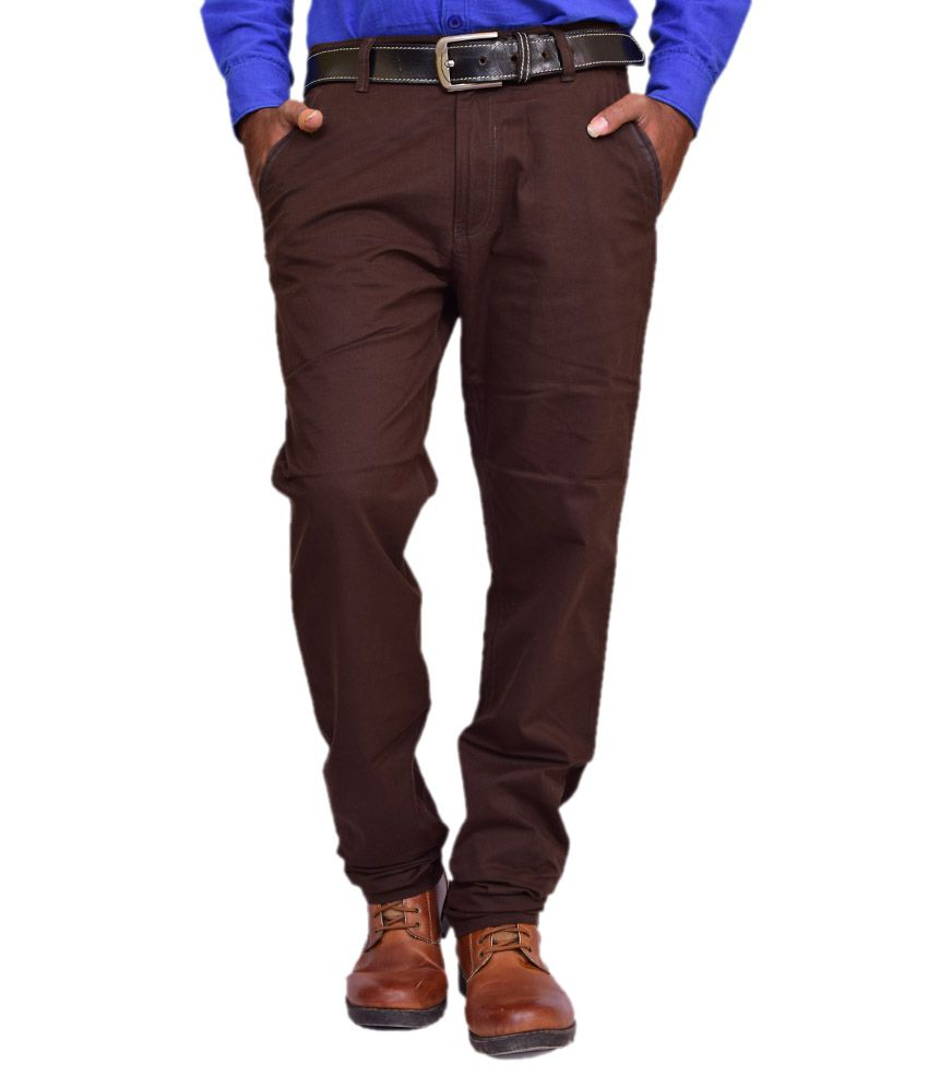 British Terminal Brown Cotton Lycra Comfort Fit Casual Chinos