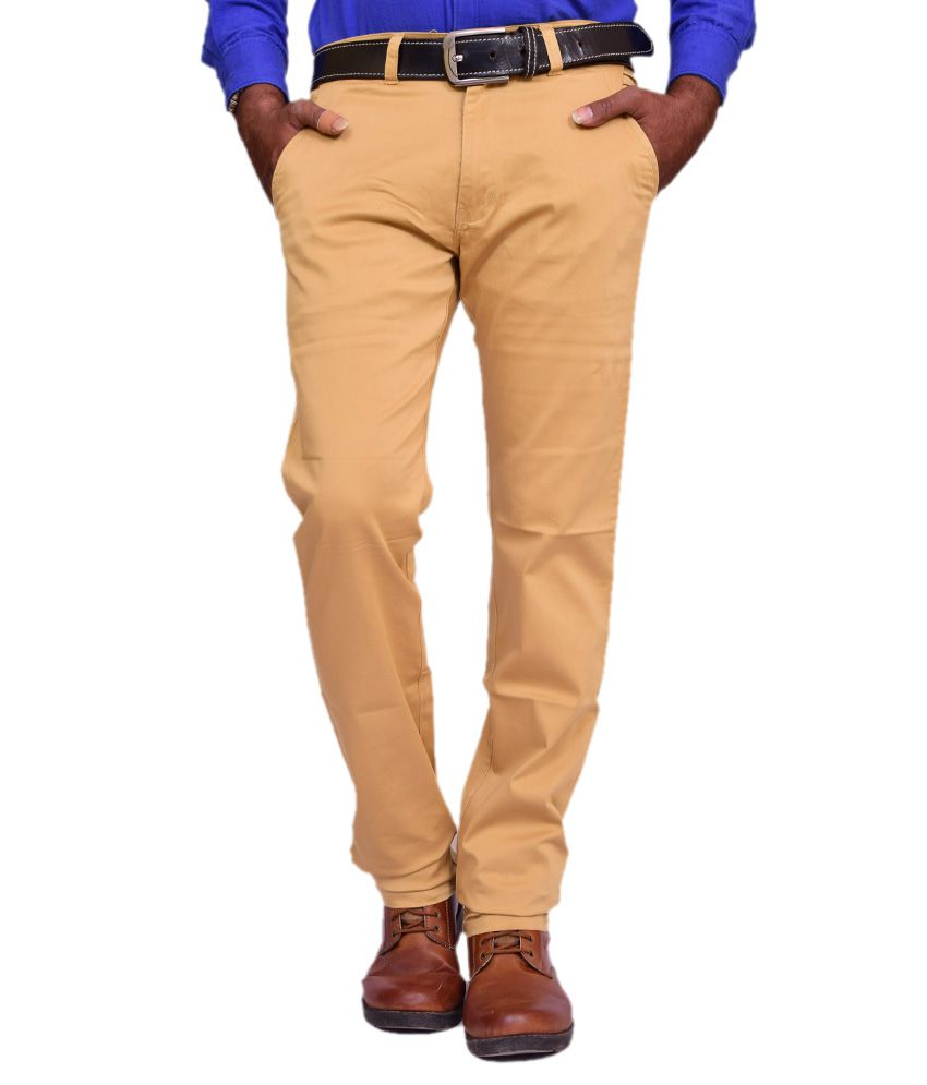 British Terminal Khaki Cotton Lycra Comfort Fit Casual Chinos