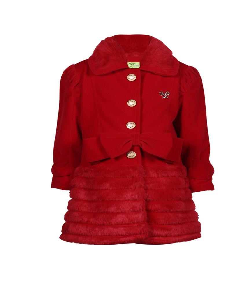 Cutecumber Red Mesh Girls Winter Jacket
