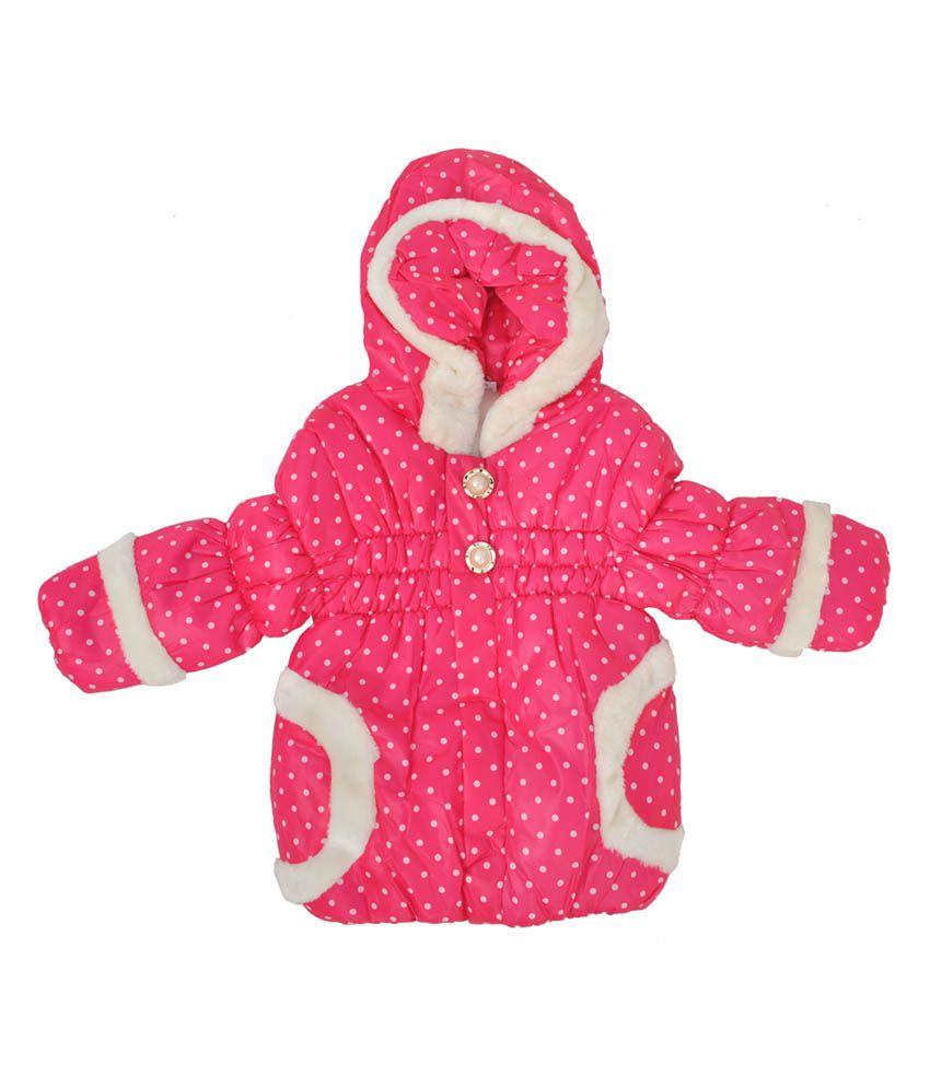 Kids Rock Full Sleeves Pink Polka And Fleece Girls Jacket