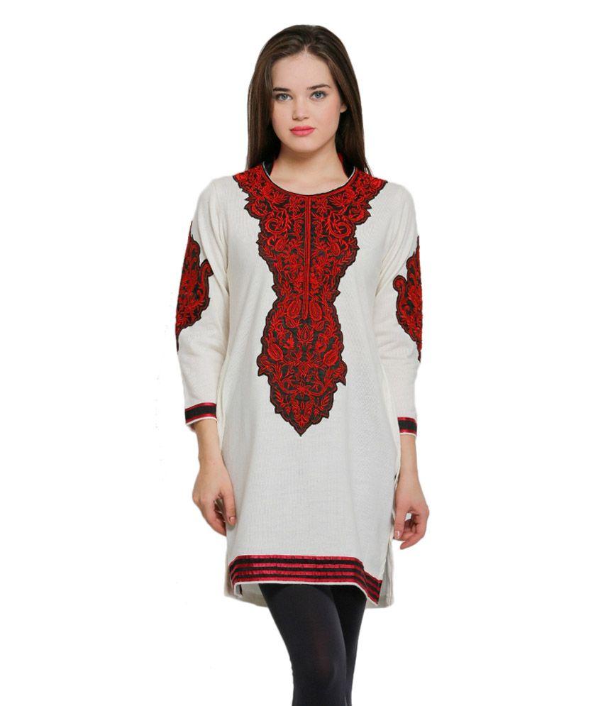 Rebecca Alluring Embroidered White Woolen Kurti